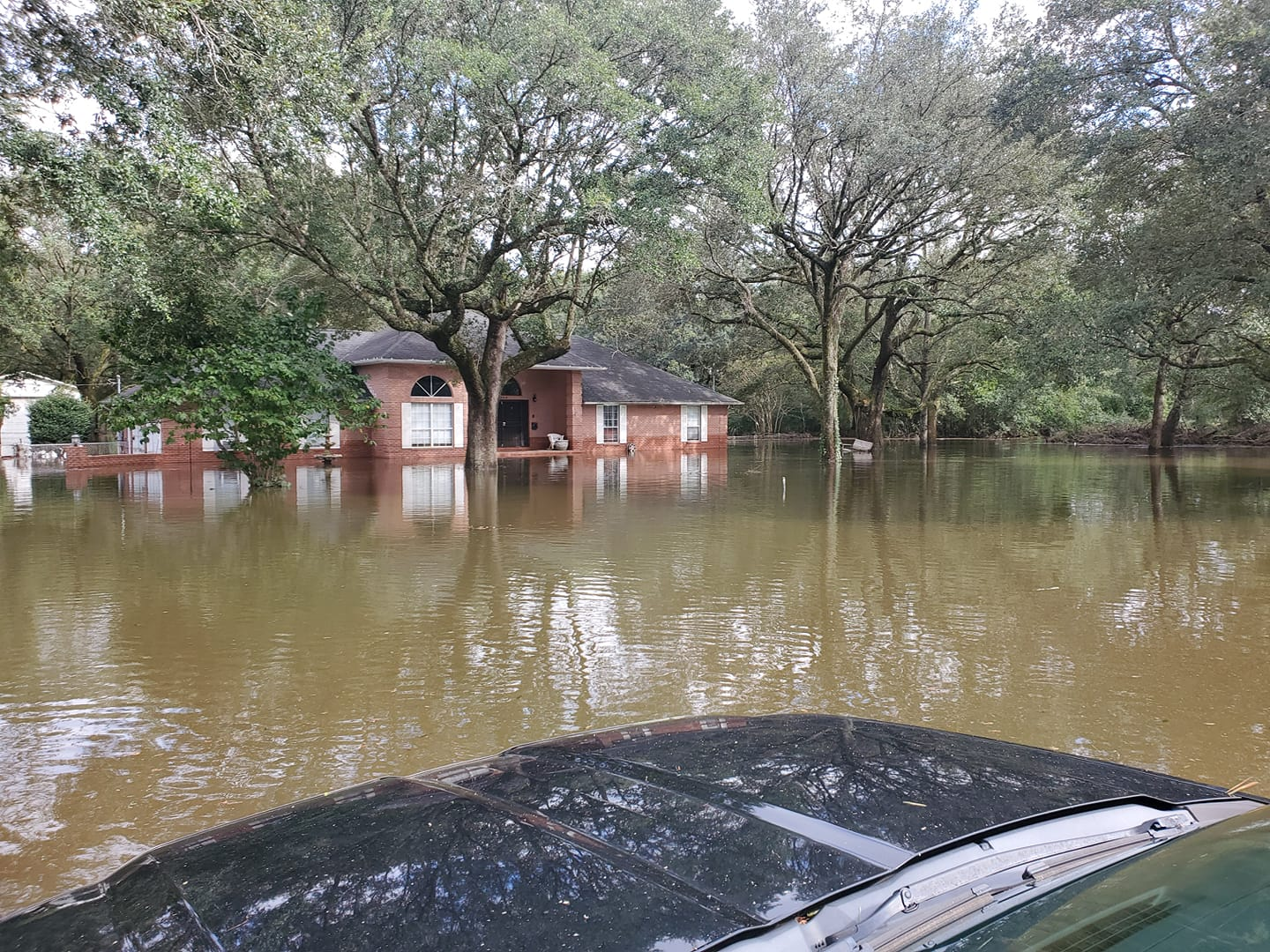 Full front view of Chad Merrills house on Saddle Creek Road in No Flood Zone