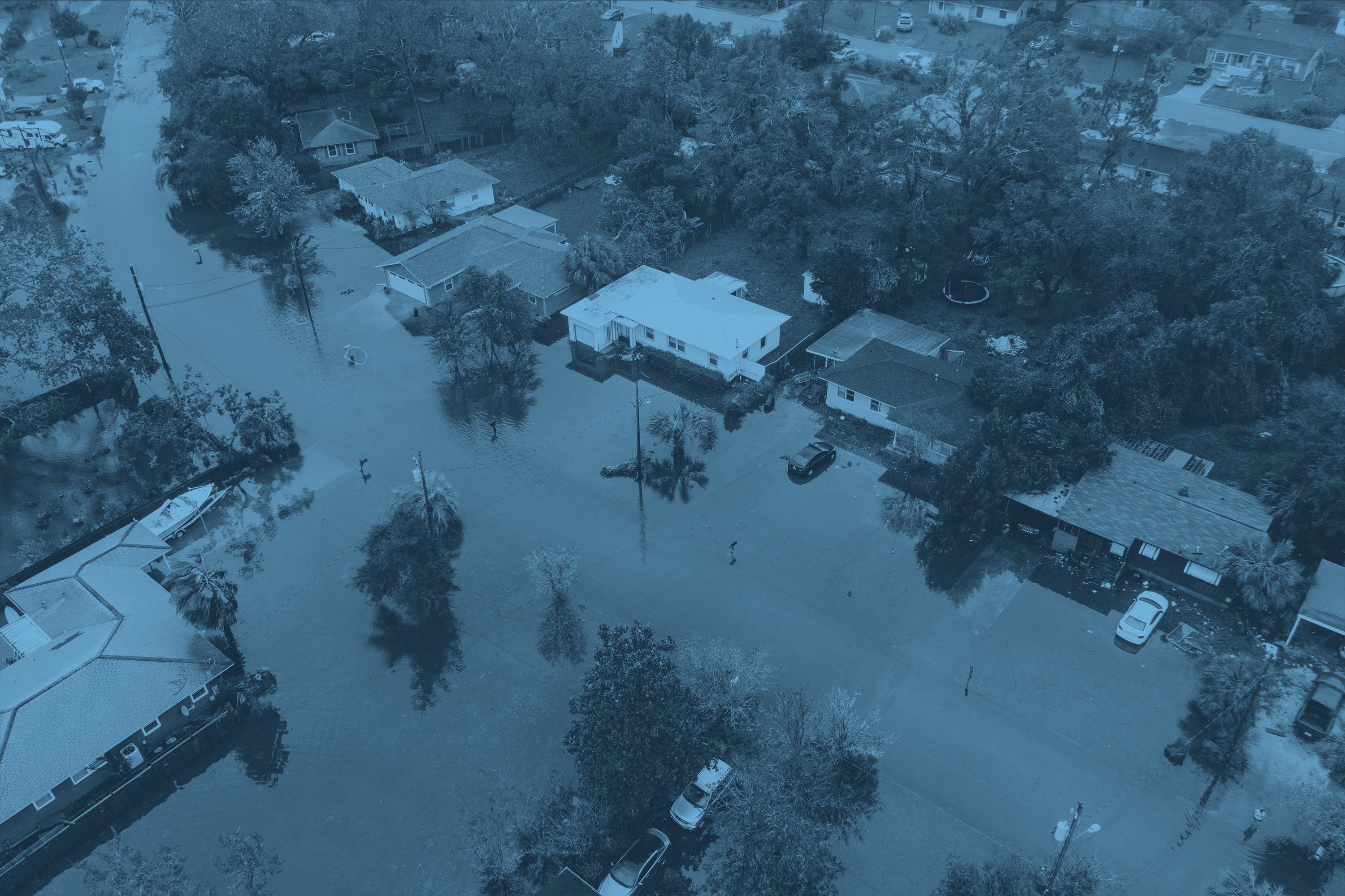 overhead of flooded county